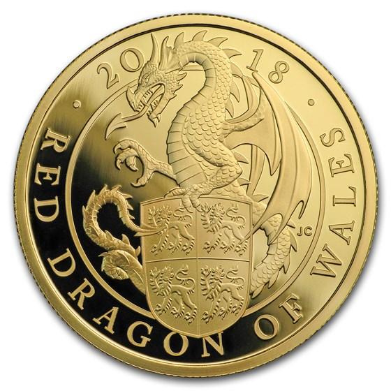 2018 GB Proof 1 oz Gold Queen's Beasts Dragon (w/Box & COA)