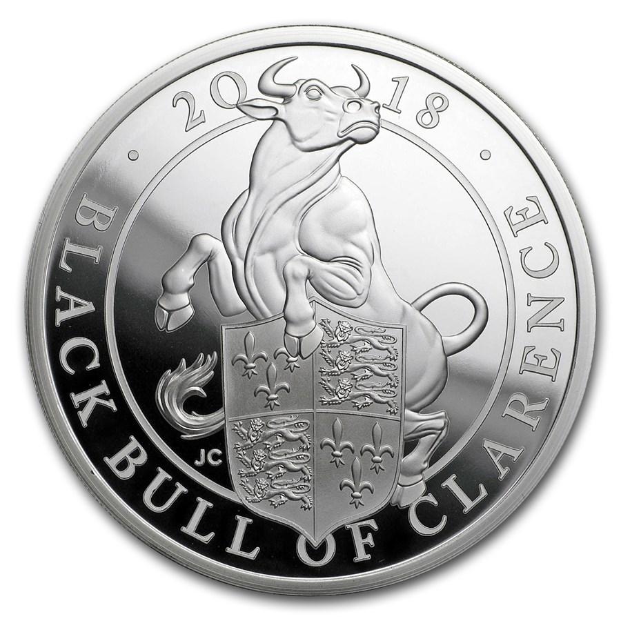 2018 GB Proof 1 oz Silver Queen's Beasts Bull (w/Box & COA)