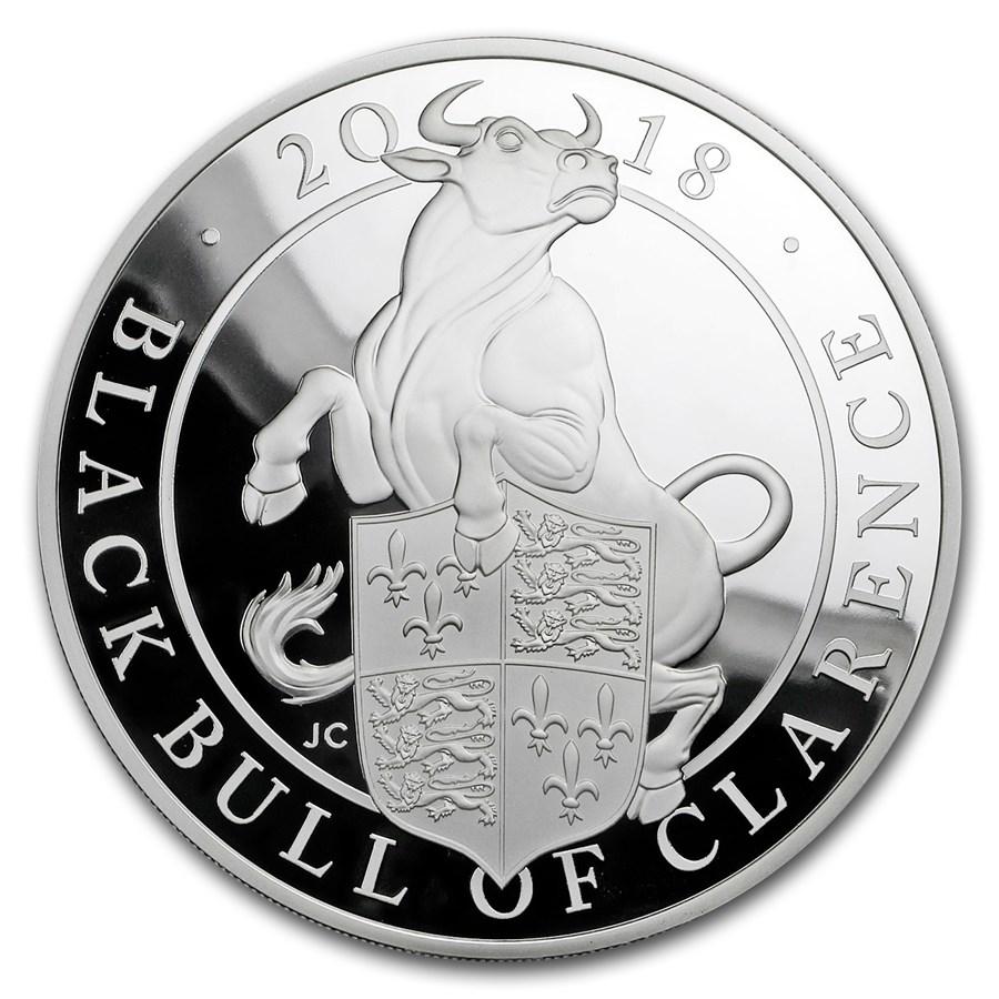 2018 GB Proof 5 oz Silver Queen's Beasts Bull (w/Box & COA)
