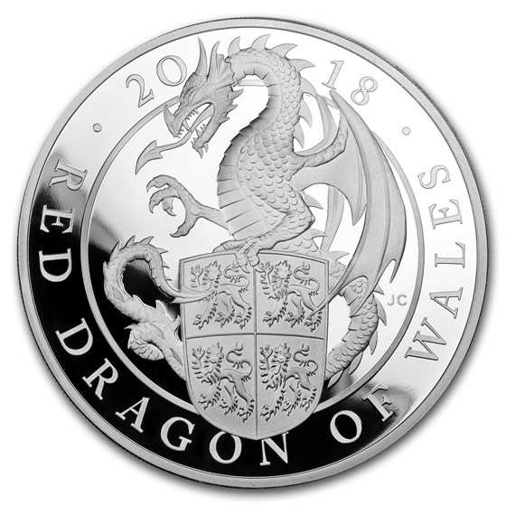 2018 GB Proof 5 oz Silver Queen's Beasts Dragon (w/Box & COA)