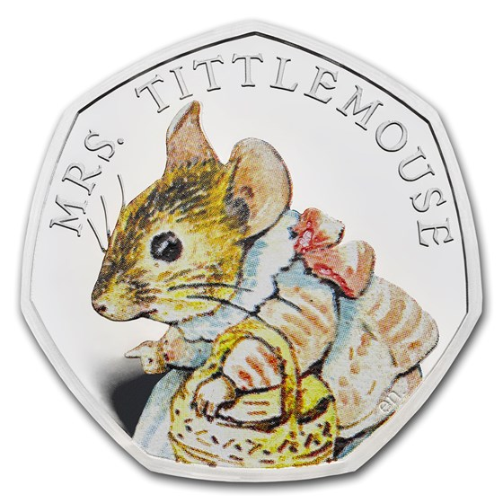 2018 GB Silver 50p Beatrix Potter Proof (Mrs. Tittlemouse)