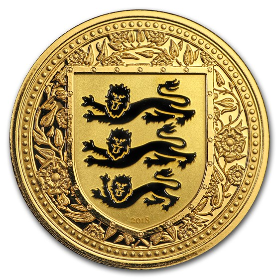 2018 Gibraltar 1 oz Gold Royal Arms of England Colorized (Black)