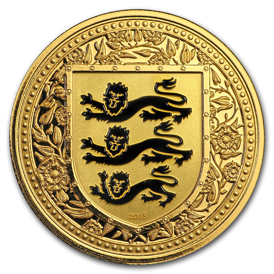 2018 Gibraltar 1 oz Gold Royal Arms of England Colorized (Black)