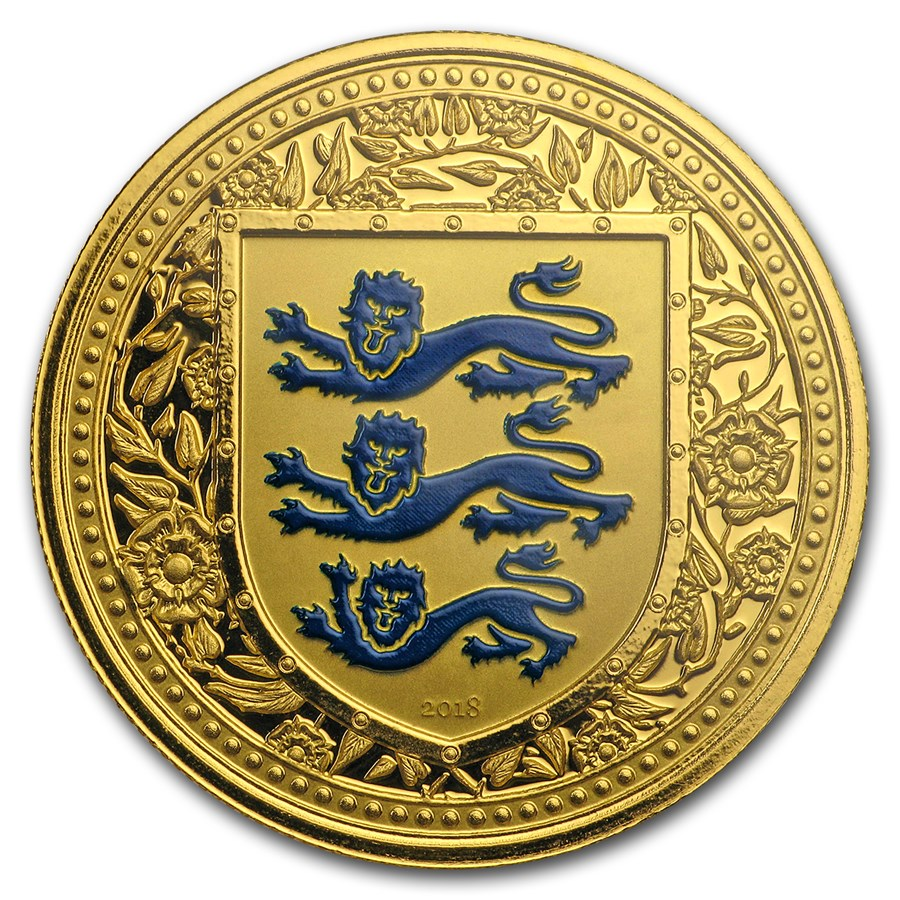 2018 Gibraltar 1 oz Gold Royal Arms of England Colorized (Blue)