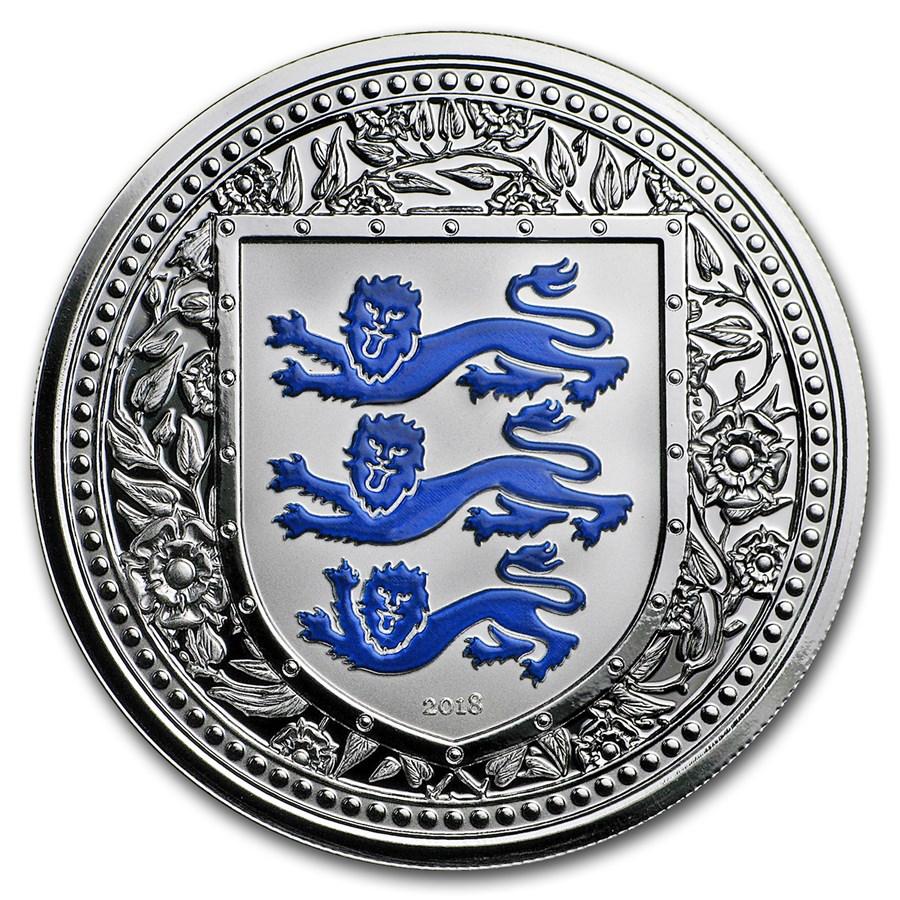 2018 Gibraltar 1 oz Silver Royal Arms of England Proof (Blue)