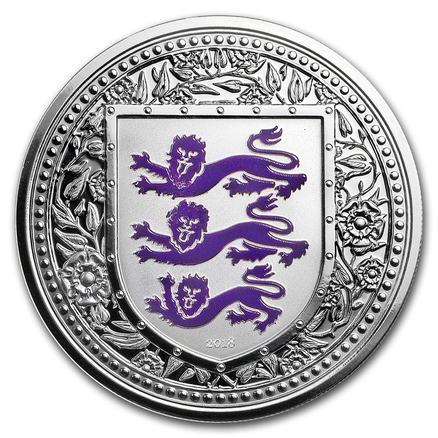 2018 Gibraltar 1 oz Silver Royal Arms of England Proof (Purple)