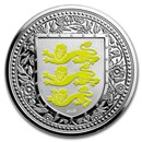 2018 Gibraltar 1 oz Silver Royal Arms of England Proof (Yellow)