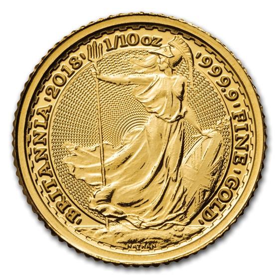 2018 Great Britain 1/10 oz Gold Britannia BU