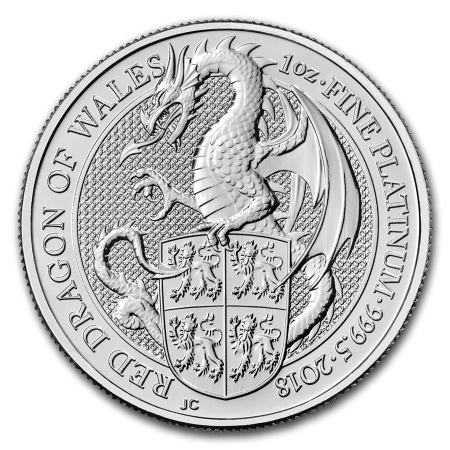 2018 Great Britain 1 oz Platinum Queen's Beasts The Dragon