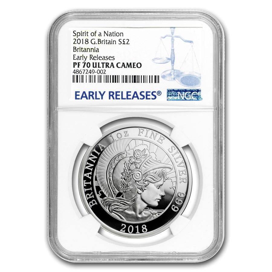 2018 Great Britain 1 oz Silver Britannia PF-70 NGC (ER)