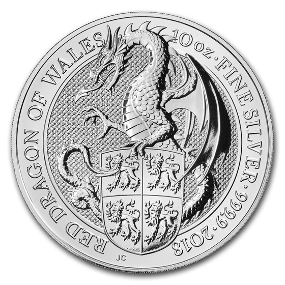 2018 Great Britain 10 oz Silver Queen's Beasts The Dragon