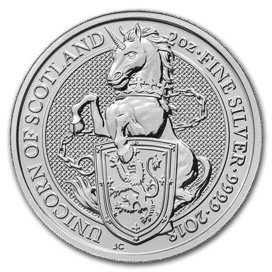 2018 Great Britain 2 oz Silver Queen's Beasts The Unicorn