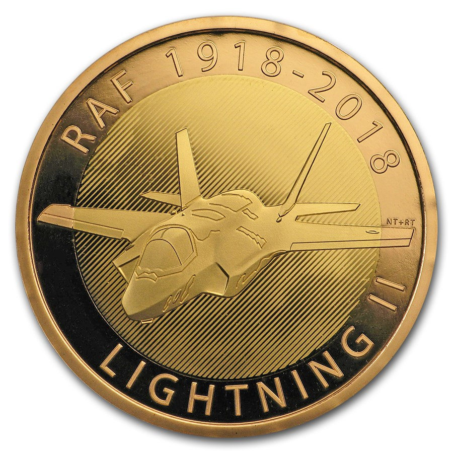2018 Great Britain £2 Proof Gold Royal Air Force (Lightning II)