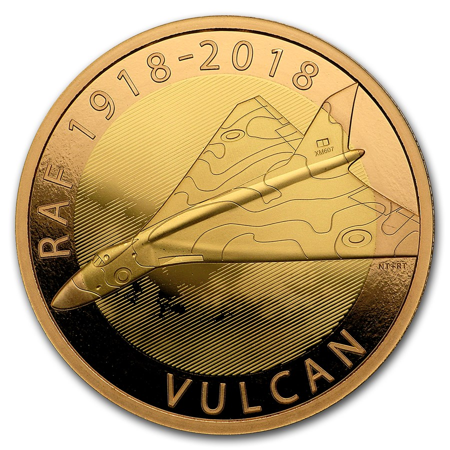 2018 Great Britain £2 Proof Gold Royal Air Force (Vulcan)