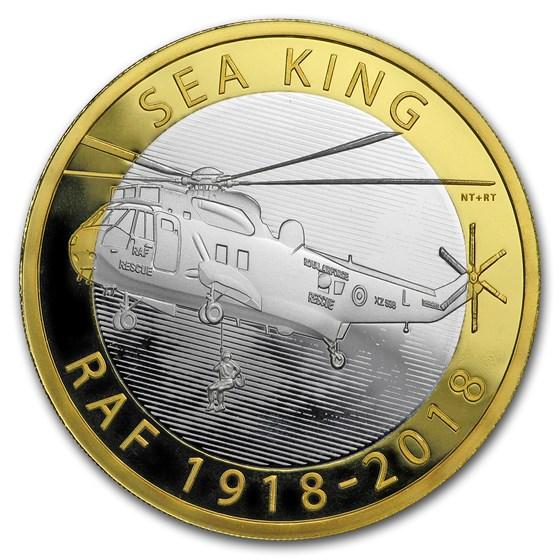 2018 Great Britain £2 Proof Silver Royal Air Force (Sea King)