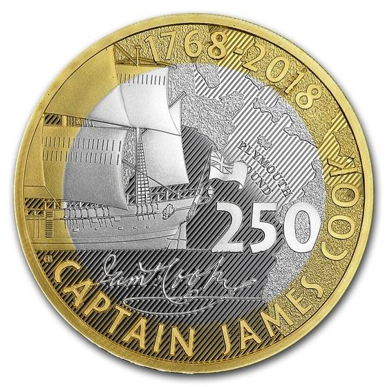 2018 Great Britain £2 Silver Captain Cook (w/Box)