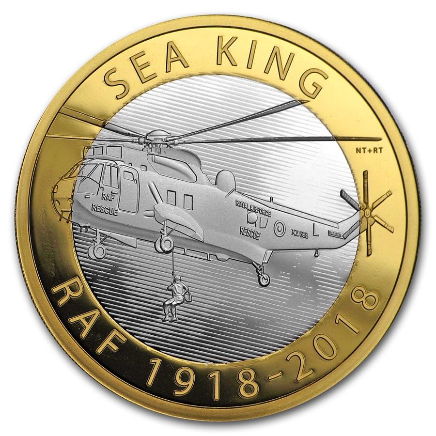 2018 Great Britain £2 Silver Royal Air Force Piedfort (Sea King)