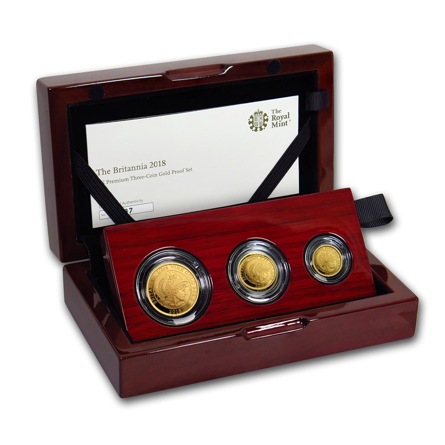 2018 Great Britain 3-Coin Gold Britannia Proof Set