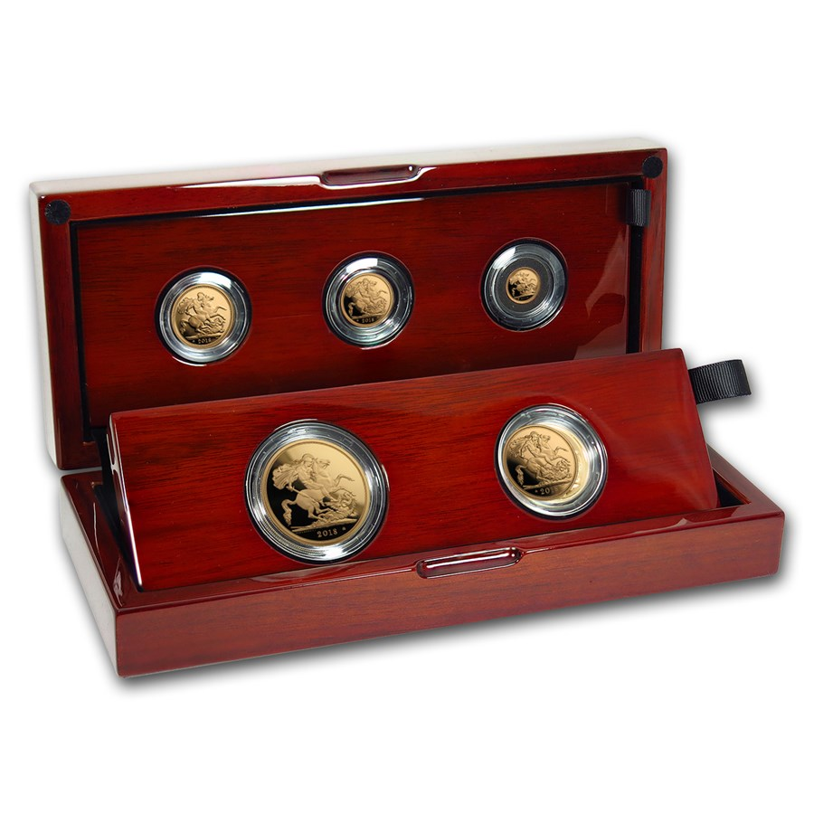 2018 Great Britain 5-Coin Gold Sovereign Proof Set