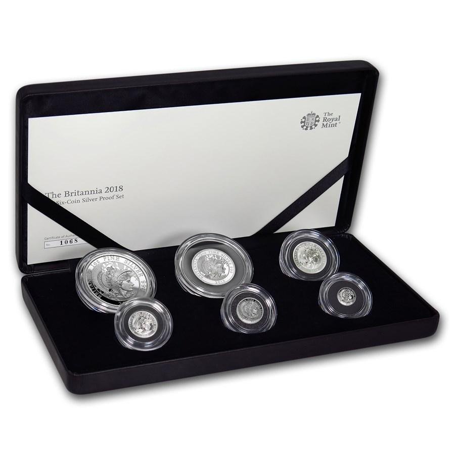 2018 Great Britain 6-Coin Silver Britannia Proof Set