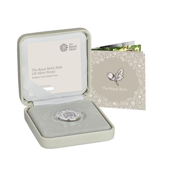 2018 Great Britain Silver Penny The Royal Birth BU (w/Box, COA)