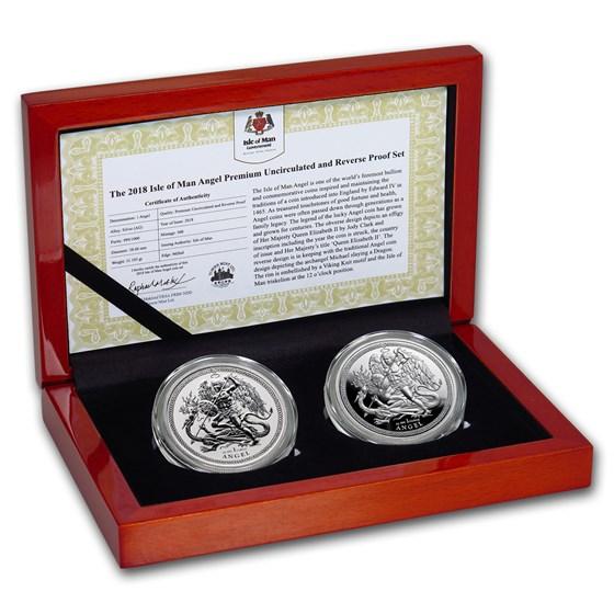 2018 Isle of Man 2-Coin Silver Angel Premium BU/Reverse Proof Set