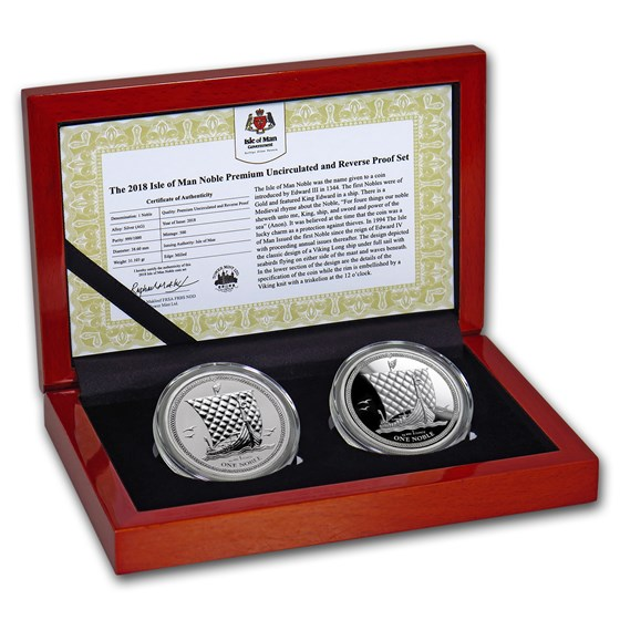 2018 Isle of Man 2-Coin Silver Noble Premium BU/Reverse Proof Set