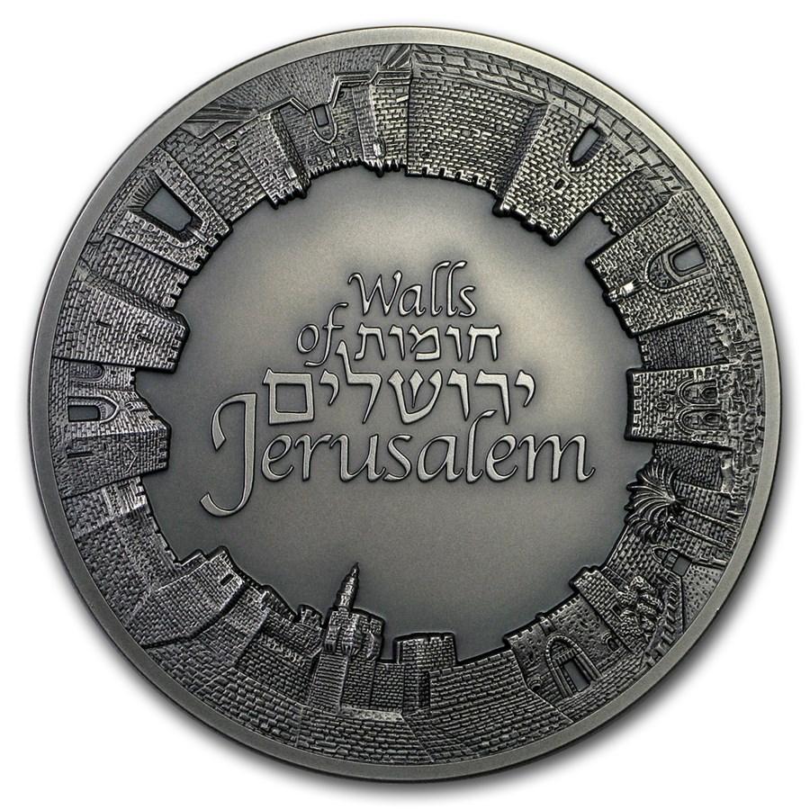 2018 Israel 3 oz Silver - Walls of Jerusalem (Antique Finish)