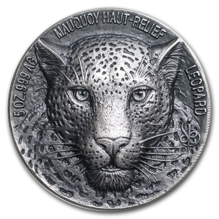2018 Ivory Coast 5 oz Silver 5000 Fr Mauquoy Haut Relief Leopard