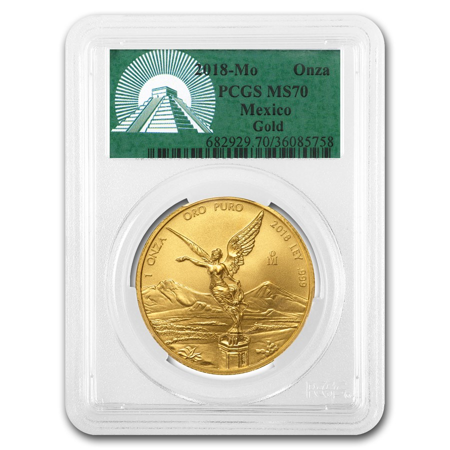2018 Mexico 1 oz Gold Libertad MS-70 PCGS (Green Label)