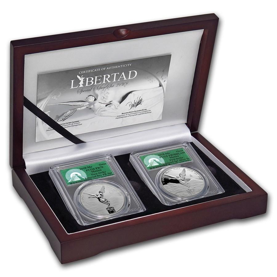 2018 Mexico 2-Coin Silver Libertad Set Proof/Reverse PR-70 PCGS