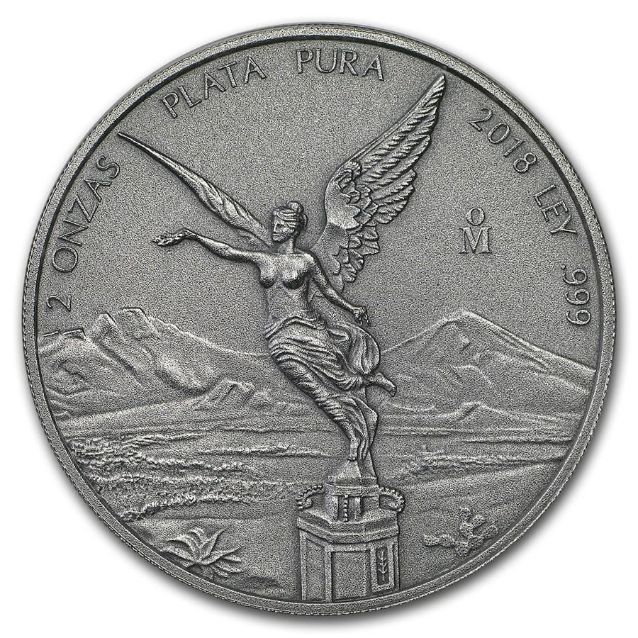 2018 Mexico 2 oz Silver Libertad Antiqued Finish (In Capsule)