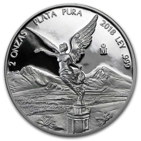 2018 Mexico 2 oz Silver Libertad Proof (In Capsule)