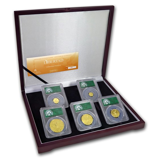 2018 Mexico 5-Coin Gold Libertad Set PR-70 PCGS (Green Label)