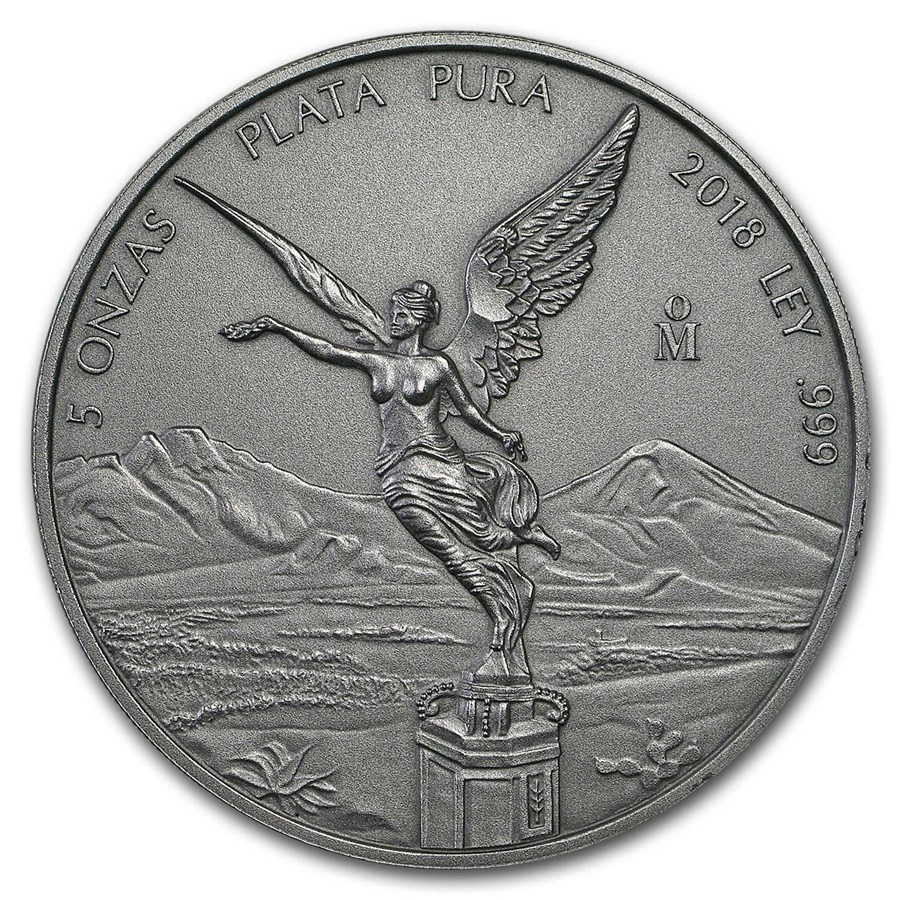 2018 Mexico 5 oz Silver Libertad Antiqued Finish (In Capsule)