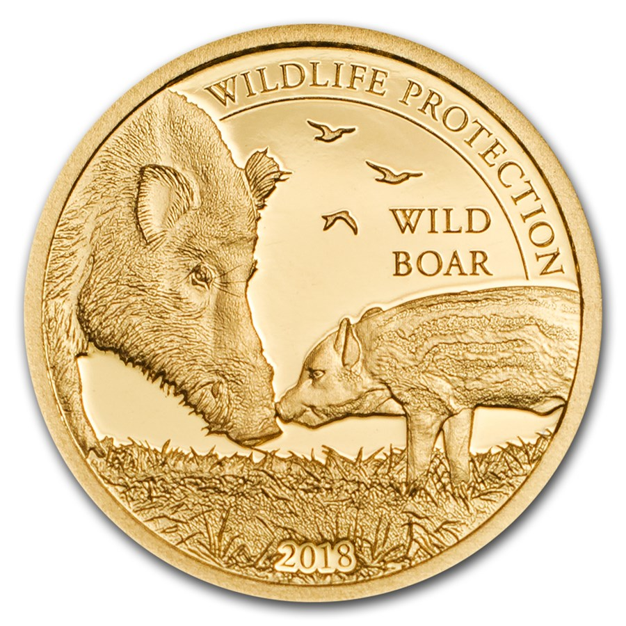 2018 Mongolia 1/2 gram Proof Gold Wildlife Protection Wild Boar