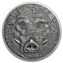 2018 Mongolia 1 oz Antique Silver Wildlife Protection Wild Boar