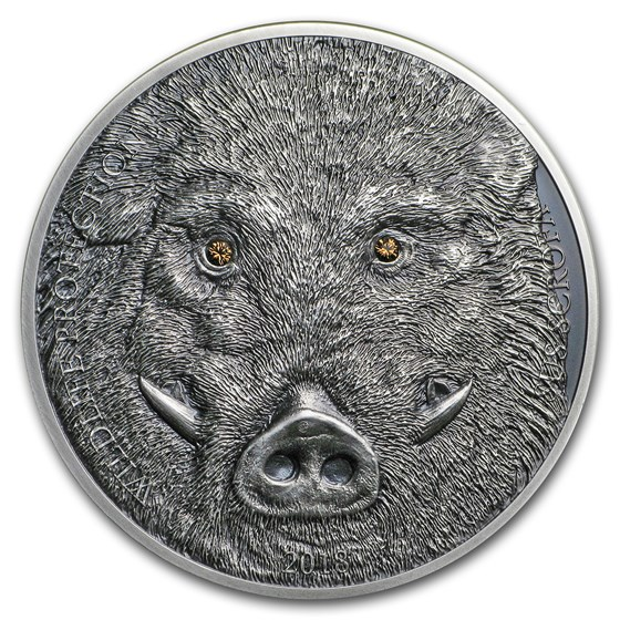 2018 Mongolia 1 oz Antique Silver Wildlife Protection Wild Boar