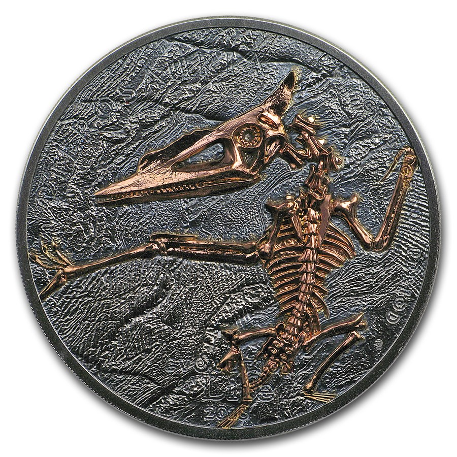 2018 Mongolia 1 oz Silver Evolution of Life Pterosaur