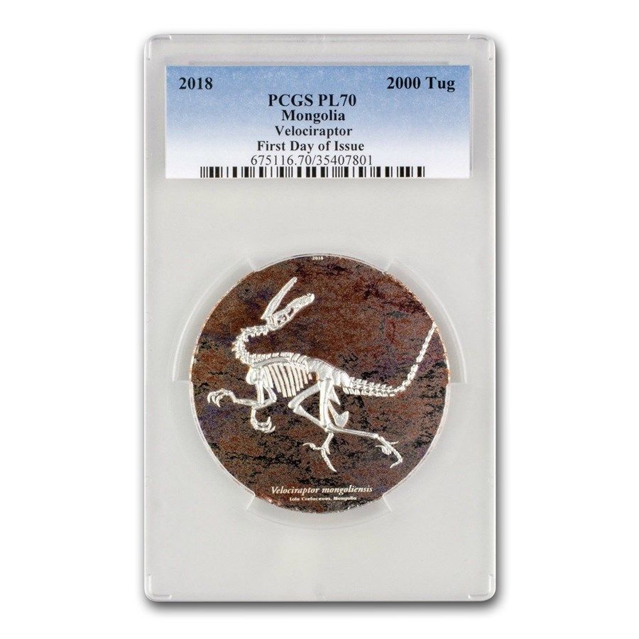 2018 Mongolia 3 oz Silver Velociraptor PL-70 PCGS (First Day)