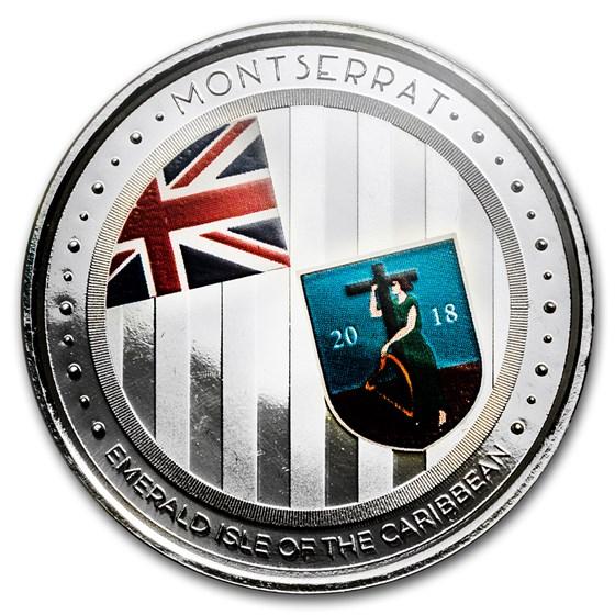 2018 Montserrat 1 oz Ag Emerald Isle of the Caribbean (Colorized)