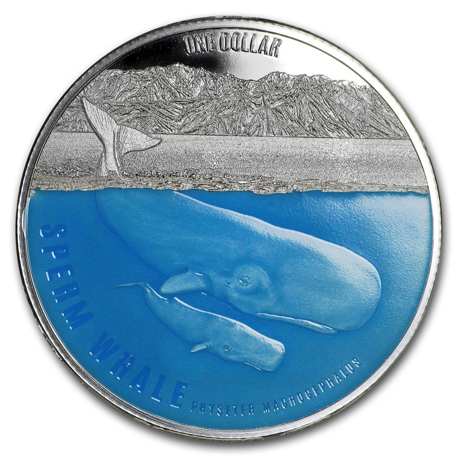 2018 New Zealand 1 oz Silver $1 Sperm Whale Proof