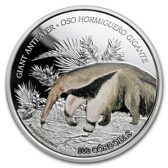 2018 Nicaragua 1 oz Silver 100 Córdobas Wildlife: Anteater