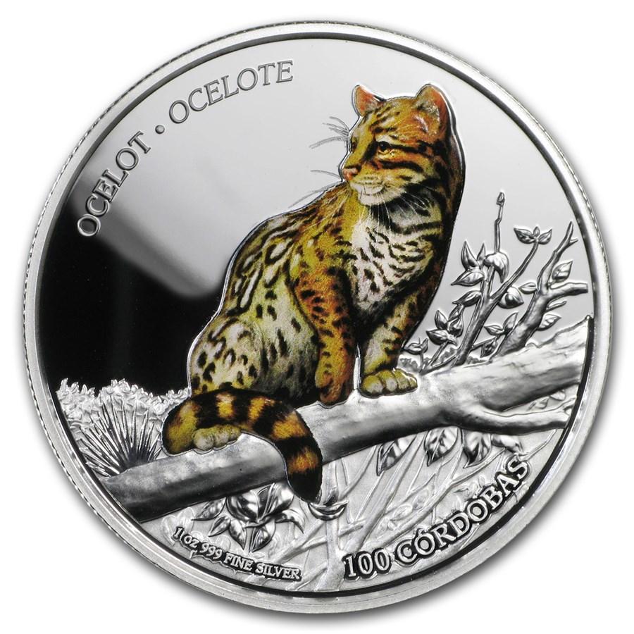 2018 Nicaragua 1 oz Silver 100 Córdobas Wildlife: Ocelot