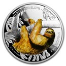 2018 Nicaragua 1 oz Silver 100 Córdobas Wildlife: Sloth