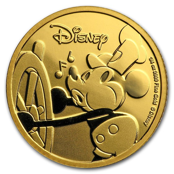 2018 Niue 1/4 oz Gold Proof $25 Disney Mickey's 90th Anniversary
