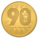 2018 Niue 1 oz Gold $250 Disney Mickey's 90th Anniversary BU