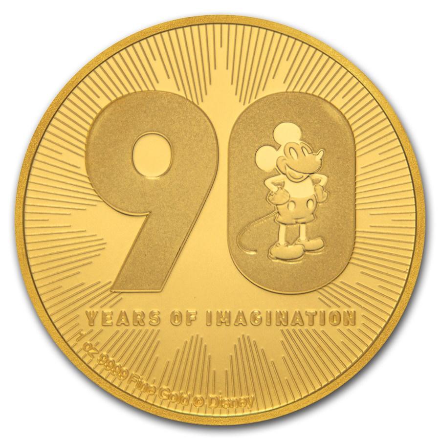 2018 Niue 1 oz Gold $250 Disney Mickey's 90th Anniversary BU