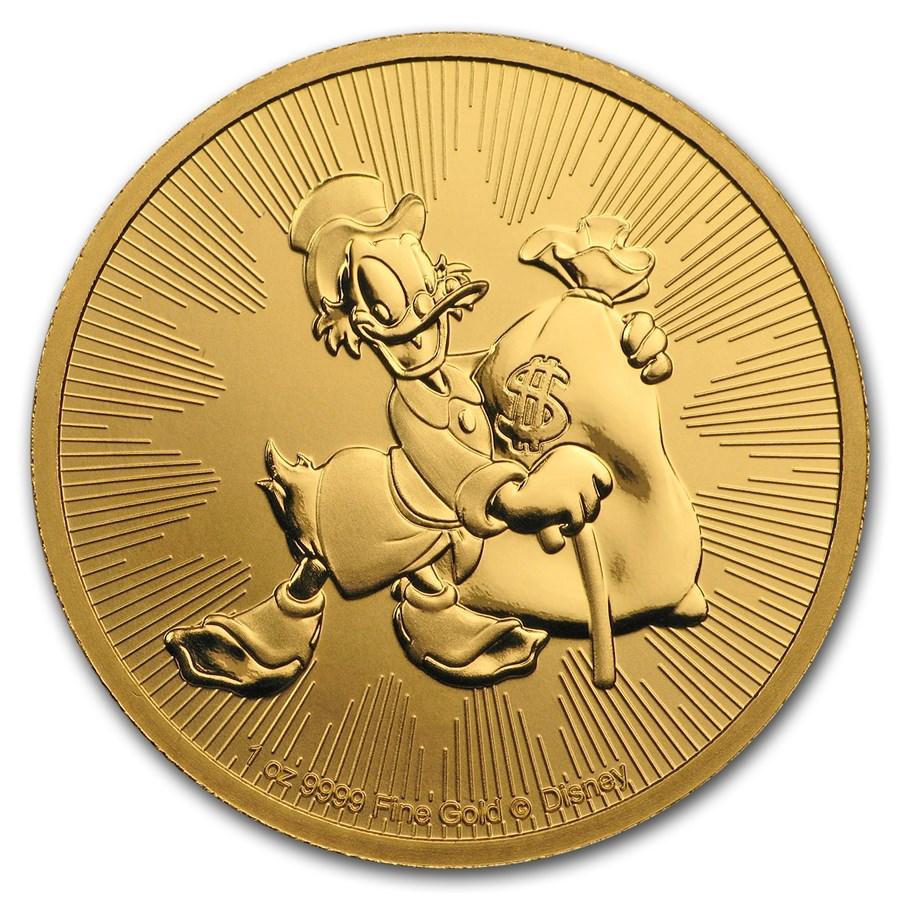 2018 Niue 1 oz Gold $250 Disney Scrooge McDuck BU