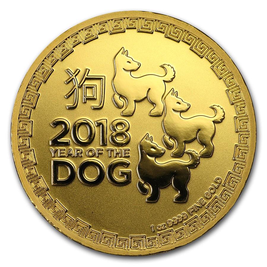 2018 Niue 1 oz Gold $250 Lunar Dog BU